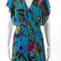 Parker Womens Silk Short Sleeve v-Neck Floral Romper Blue Size 6 Photo