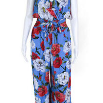 Parker Womens Sleeveless Floral Elara Jumpsuit Blue Size 8 11385244 Photo