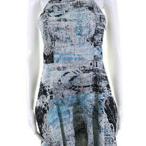 Parker Womens Sleeveless Open Back Mini Halter Dress White Black Blue Size Small Photo