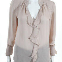 Parker Womens Tilly Long Sleeve Ruffle Blouse Pink Silk Size Small 11665228 Photo