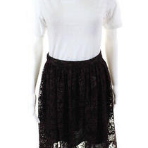 Parker Womens Zip Up Lace Overlay Knee Length a Line Skirt Maroon Size 4 Photo