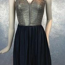 Parker Xs Womens Copper Black Corset Leather Combo Strapless Dress Vexyvixen Photo
