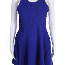 Parkers Womens Chevron Knit Sleeveless Pleated a-Line Dress Blue Size Medium Photo