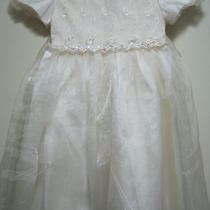 Party Time White Satin Fancy Wedding/bridesmaid/flower Girl/pageant Dress Sz 4t Photo
