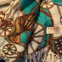 Pashima Scarf/shawl With Vintage Look Stage Coaches on Teal/white With Fringe Photo