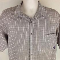 Patagonia Brown Button Front Short Sleeve Shirt-Size Medium Cotton Blend Plaid Photo
