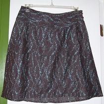 Patagonia Dark Brown Aqua Trailing Floral Print a-Line Skirt Sz 8 M Hemp Blend Photo
