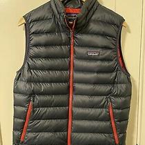 Patagonia Down Sweater Vest Mens Size M Navy With Red Photo