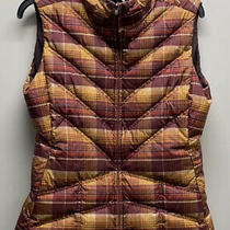 Patagonia Down With It Vest Goose Down Mustard and Maroon Plaid Womens Med Photo
