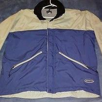 Patagonia Jacket Zip and Velcro Up Beige and Blue Hide Away Hoodie Heavy Duty Photo
