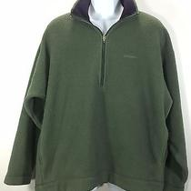 Patagonia Large Men's Fleece Sweater Jacket Green Polyester Made in Usa 1/2 Zip Photo