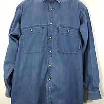 Patagonia Medium Men's Denim Jean Shirt Pearl Snap Cotton Long Sleeve Photo