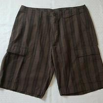 Patagonia Men's Organic Cotton Brown Striped Cargo Shorts Size 34 Waist Photo