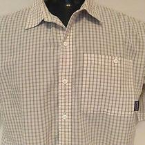 Patagonia Men's Tan  & White Plaid Short Sleeve Button Front Shirt Sz X L Large Photo