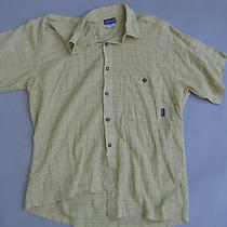 Patagonia Mens A/c Vent Rust Light Green Windowpane Shirt Medium M Ml Photo