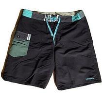 Patagonia Mens Board Shorts Black W Aqua Green Size 35 Nwot Never Worn Photo