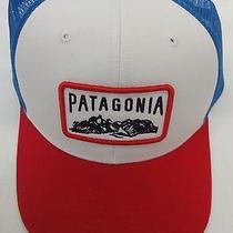 Patagonia Mens Climb a Mountain Trucker Cap/hat 38003 White (W/blue&red) Photo
