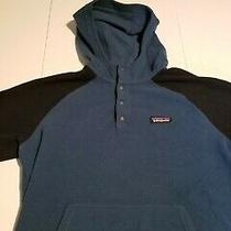 Patagonia Mens Fleece Hoodie Sweater Two Tone Blue Sz Small Photo