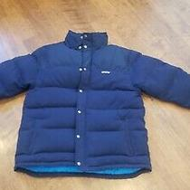 Patagonia Mens Large Duck Down Puffer Quilted Jacket Navy Blue Photo