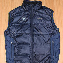 Patagonia Mens Medium Blue Down Vest W/ Storage Bag Photo