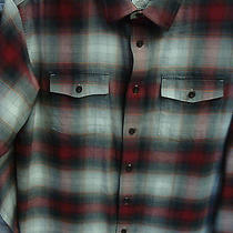Patagonia Organic Cotton Mens Shirt Large L Long Sleeve Plaid Button Front Red Photo
