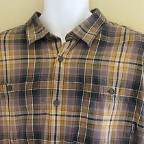 Patagonia  Organic Cotton  Rugged Brown Plaid Hiking Outdoors Mens Shirt Sz L Photo