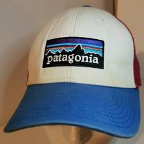 Patagonia P-6 Trucker Hat Cap Red White Blue Classic Logo Snapback Pre Owned  Photo