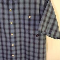 Patagonia Puckerware Shirt Mens L Large Short Sleeve Blue Plaid Button Front  Photo
