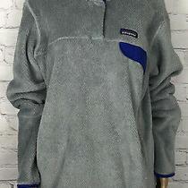 Patagonia Pullover Jacket Retool Gray Fleece Blue Trim Snap Button Polartec Xl Photo