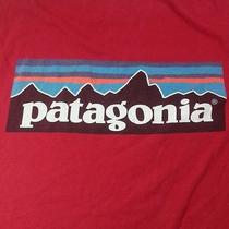 Patagonia Red Logo Graphic Tee T Shirt Mens L Large Organic Cotton Outdoor Photo