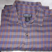 Patagonia Shirt Medium Organic Cotton Navy Rust Check Photo