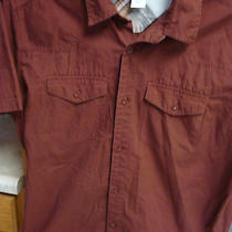 Patagonia Shirt Mens Short Sleeve Button Front Maroon Large L Organic Cotton Photo