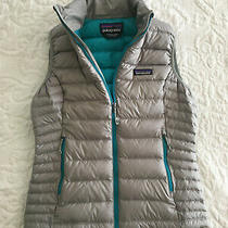 Patagonia Woman's Sz S Down Sweater Vest Drifter Gray W/epic Blue Liner/trim Photo