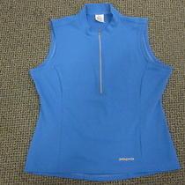 Patagonia Women's Medium Sleeveless Jersey Fitness Shirt Blue Cycling Biking Photo