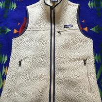 Patagonia Womens Retro X Pile Fleece Full Zip Vest Cream & Navy Blue Size Small Photo