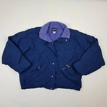 Patagonia Womens Nylon Jacket Fleece Lined Navy Blue Coat Size Small Vtg Photo