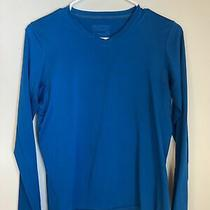 Patagonia Womens S Daily Capilene Base Layer Long Sleeve Top Teal Blue v Neck Photo