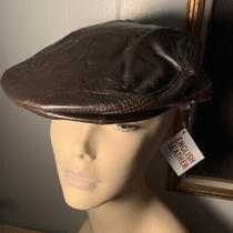 Patch Brown Leather Cabbie Newsboy Cap Lined Vintage Hook Loop Tab Snap Visor Nw Photo