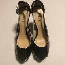 Patent Black Guess Stilettos High Heels Peep Toe Strappysize 8 Photo