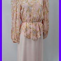 Patra Vintage Mob Knee Gown Dress Metallic Shimmer Mock 2pc Peplum Blush 5 6 New Photo