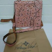 Patricia Nash Granada Blush Leather Studded Link Perf Flap Crossbody Handbag Photo