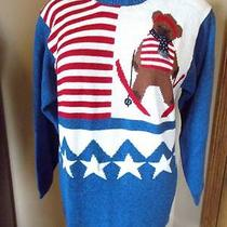 Patriotic Stars Stripes Bear Skiing Ugly Christmas Sweater - Womens Med 780 Photo
