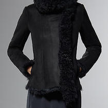 Patrizia Pepe Coat Suede Sheepskin Lamb Fur Long Pile Double-Breasted Leather 40 Photo