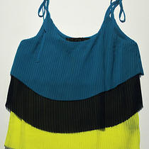 Patterson J Kincaid Womens Aqua Navy Yellow Tier Pleated Chiffon Tank Top Xs Nwt Photo