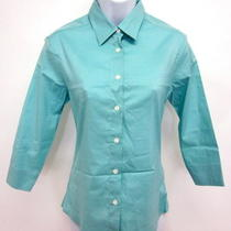 Paul and Joe Aqua Blue Button Down 3/4 Sleeves Top Sz L Photo