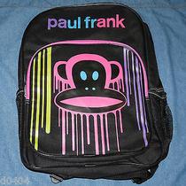 Paul Frank Girls Backpack Black Canvas W Julius & Bright Color Drip Design Nwt  Photo