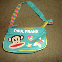 Paul Frank Girls Purse  Aqua Blue Cotton Zippered Top Photo