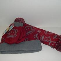 Paul Frank Julius Monkey Youth Stocking Hat Mittens Scarf Set Red Gray One Size  Photo