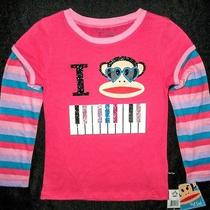 Paul Frank Little Girls Size 6 Long Sleeve Magenta 'I Heart Piano' Graphic Top Photo
