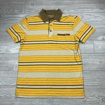 Paul Frank Polo Shirt Mens Small Yellow Brown Stripe Collar Button Casual U89 Photo